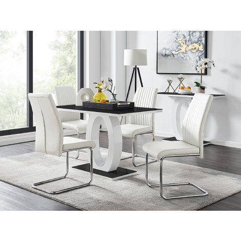 Giovani Black White High Gloss Glass Dining Table and 4 White Lorenzo Chairs Set