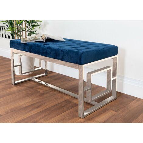 Cambridge Modern Chrome Metal & Blue Velvet Upholstered Luxury Bench