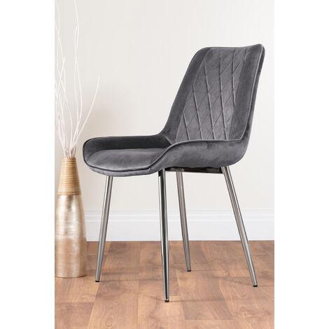 2x Pesaro Grey Velvet Silver Leg Luxury Dining Chairs