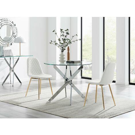 Novara 100cm Round Dining Table & 2 White Corona Gold Chairs