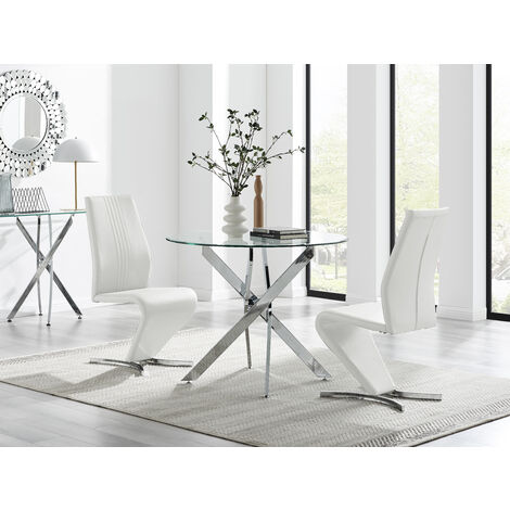 Novara 100cm Round Dining Table & 2 White Willow Chairs