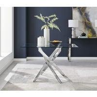 Leonardo 4 Glass And Chrome Metal Dining Table