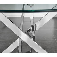 Novara Round Chrome Metal And Glass Dining Table And 4 White Milan Dining Chairs Set