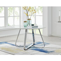 Santorini White Round Dining Table And 6 White Isco Chairs