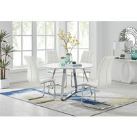Santorini White Round Dining Table And 4 White Murano Chairs