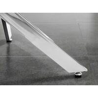 Novara 100cm Round Dining Table & 2 White Corona Silver Chairs