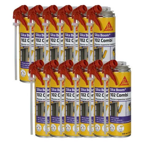 Paquete de 12 expansores de espuma de poliuretano SIKA Boom 102 Combi - 500ml - Blanc