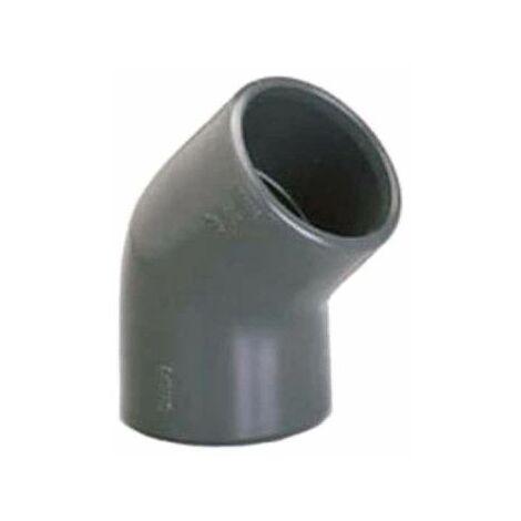 Codo PVC presión PLASSON - Para encolar - 45° - Diámetro 63 mm - Hembra-hembra - 39361J