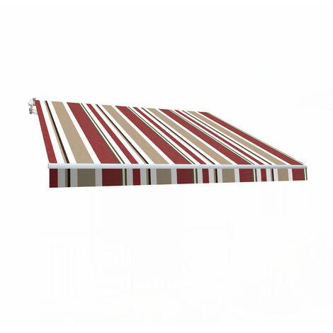 Store banne manuel 3x2m Smartsun toile polyester bordeaux / beige