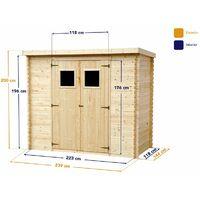 Abri de jardin en bois naturel Floen 3.44 m2 - 239x144x200cm. Remise