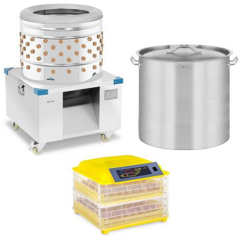 Desplumadora En Set 360 kg/h Con Incubadora Para 96 Huevos + Olla Inducción 98L