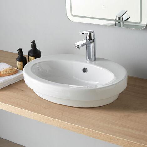 Vasque à poser ou semi encastrable ovale en céramique Ajaccio