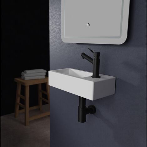 Lave mains rectangle design blanc
