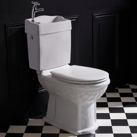 Wc rétro avec lave mains et abattant blanc