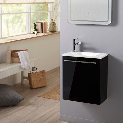 Meuble lave-mains pour wc noir avec vasque contemporaine en solid stone et mitigeur