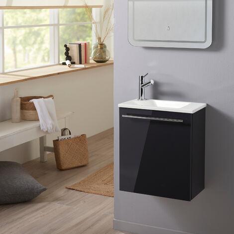 Meuble lave-mains pour wc gris anthracite brillant avec vasque moderne et mitigeur