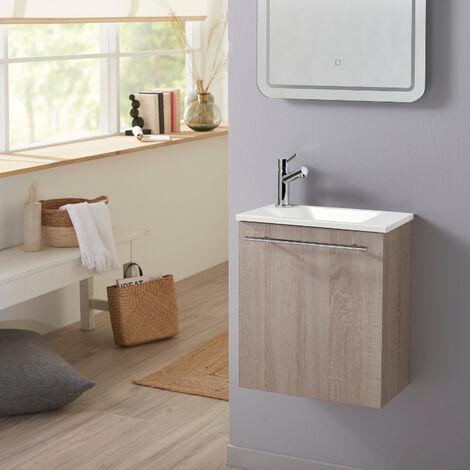 Meuble lave-mains pour wc finition chêne blanchi effet naturel avec robinet eau froide