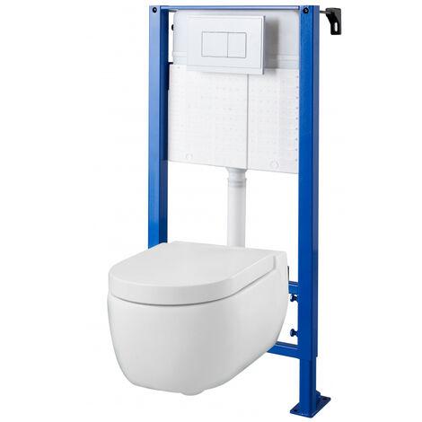 Pack WC suspendu Bâti universel avec cuvette suspendue avec abattant magnétique - nesis