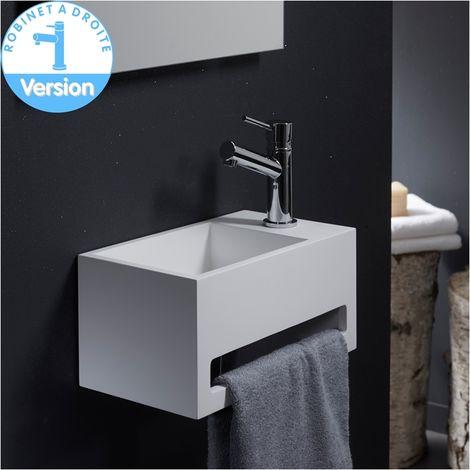 Lave-mains gain de place en solid surface Prato 33x18 cm avec porte-serviette