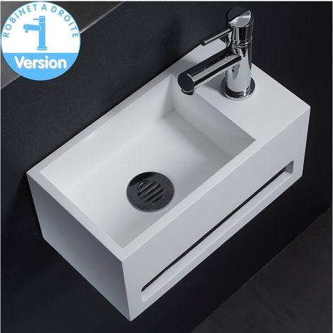 Vasque à trou de trop-plein//robinet en céramique Blanc Noir pour salle de bain
