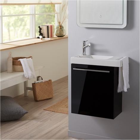 Ensemble meuble lave mains noir + lave mains en céramique avec porte serviette + robinetterie eau froide/eau chaude