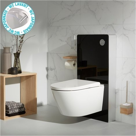 Pack wc avec cuvette lavante - Façade en verre noir-Wc japonais