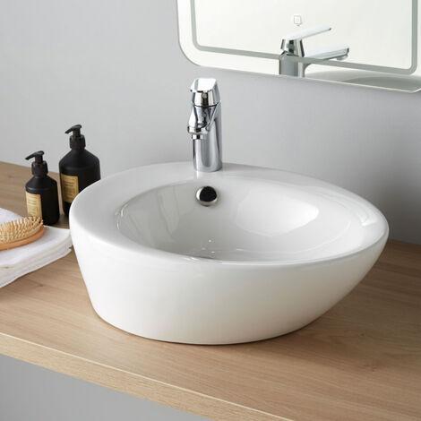 Vasque à poser ovale en céramique blanche