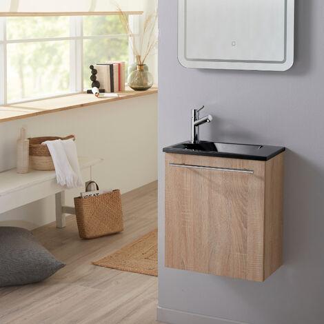 Pack lave mains Hamac Oak bordolino + Lave mains noir + robinet eau froide