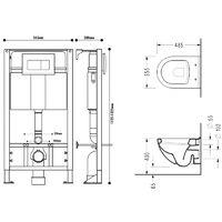 Pack WC suspendu gain de place avec Bâti universel autoportant