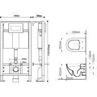 Pack WC suspendu universel avec cuvette sans bride et plaque sensitive noire