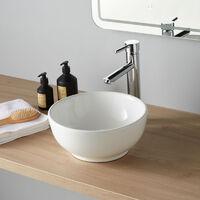 Vasque à poser en forme de bol et céramique blanche