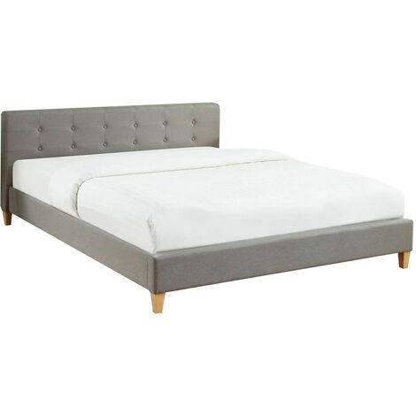 Lit adulte avec tête de lit capitonnée en tissu gris clair - sommier à lattes 160x200cm - Collection Milo - Gris
