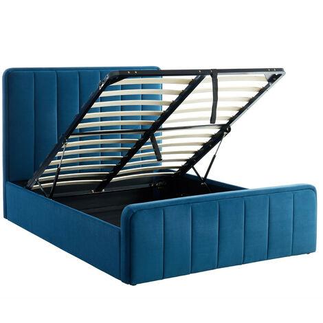Lit coffre 140x190cm en velours bleu canard avec tête de lit + sommier à lattes - Collection Bold - Bleu