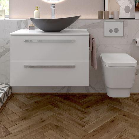 BTL Morina Wall Hung Vanity Unit 2drw 600mm - White Gloss No worktop