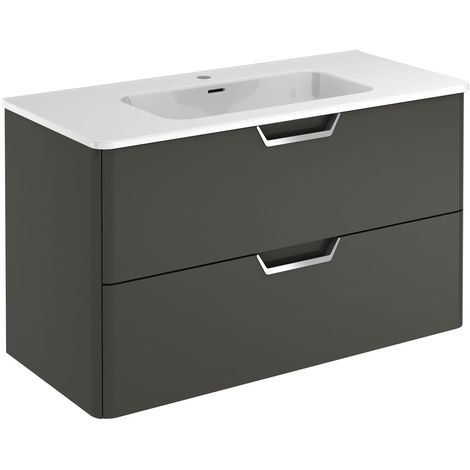 Frontline Life 1000mm 2 Drawer Wall Hung Vanity Unit Anthracite