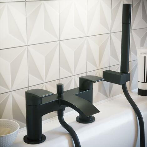 Solar Matt Black Round Deck Mounted Bath Tap with Shower Attachment