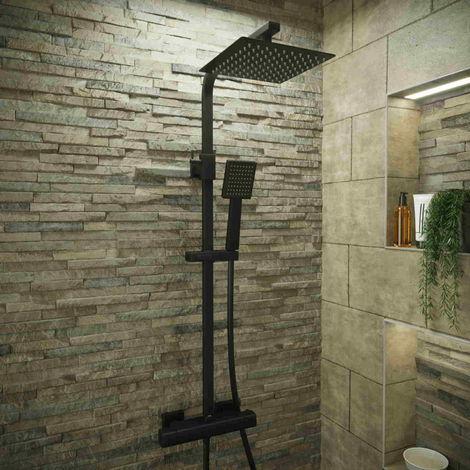 Solar Matt Black Exposed Bar Shower Mixer Kit - Thermostatic Square