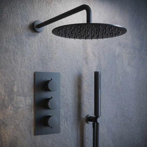 Solar Matt Black Concealed Shower Mixer Pack - Round 2 Way Triple Set