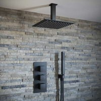 Solar Matt Black Square 2 Way Concealed Ceiling Shower and Handheld