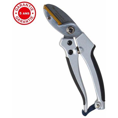 Sécateur alu enclume, ergonomique et léger, coupe sur enclume, taillant de qualité