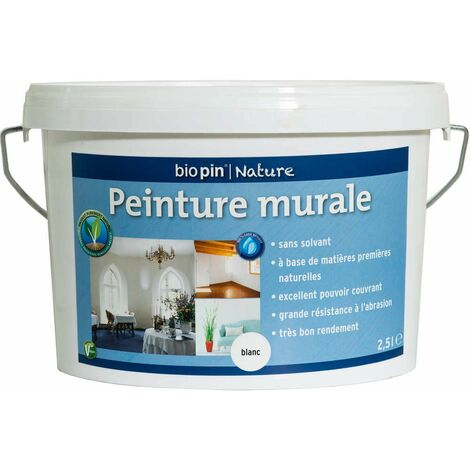 Peinture murale intérieure naturelle 2,5 L - Blanc