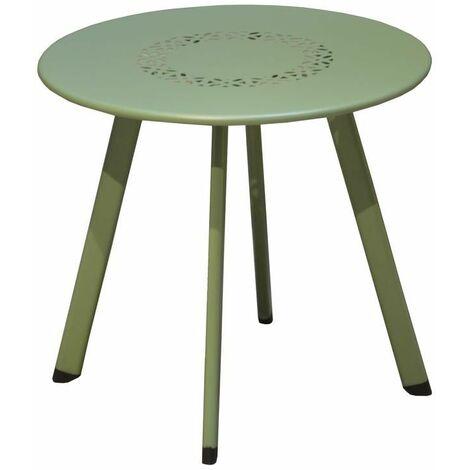 Table Massaï en acier - ø 40 x H. 35 cm - Amande
