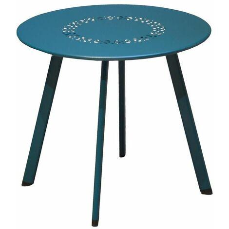 Table Massaï en acier - ø 45 x H. 39 cm - Bleu
