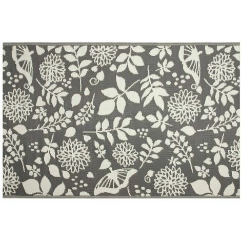 Tapis d'extérieur eco 240x150 cm - fleurs grises
