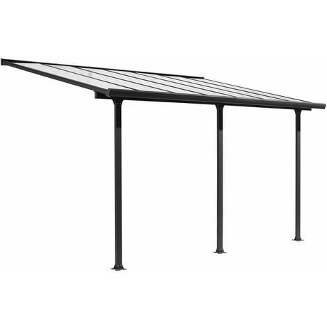 Toit terrasse Alu gris anthracite - S.h.t. 12,83 m² - rideau d'ombrage extensible écru - toile polyester 130 gr/m²