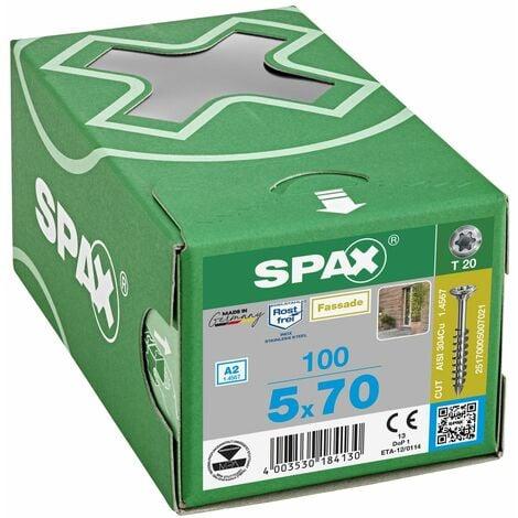 100 Vis Torx tête fraisée autoforeuse 5,0x70 Spax Cut inox A2 - Façade bois résineux