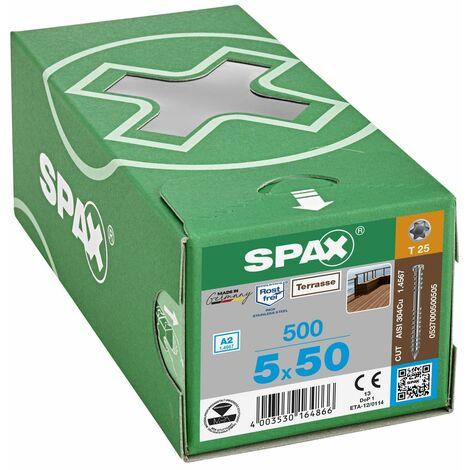 500 Vis Torx autoforeuse 5x50 Spax-deck inox A2 - Terrasse bois éxotique