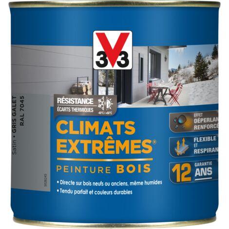 Peinture bois extérieur Climats extrêmes® V33, gris galet satiné 0.5 l
