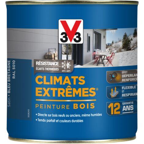 Peinture bois extérieur Climats extrêmes® V33, bleu bretagne satiné 0.5 l