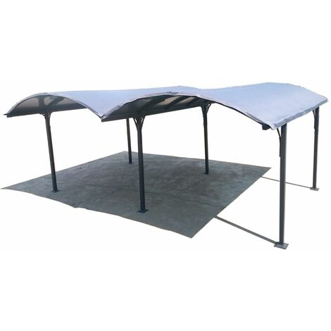Bâche pour double carport Aluminium toit demi-rond